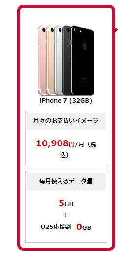縛り無しでiPhone732GBをドコモで契約したときの料金