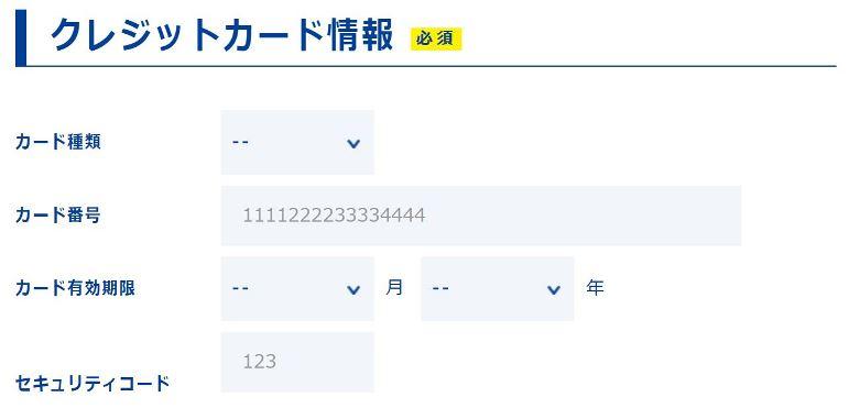 トーンモバイルの申込ページはクレジットカード情報の入力欄