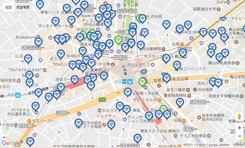Wi2の渋谷周辺のアクセスポイント数