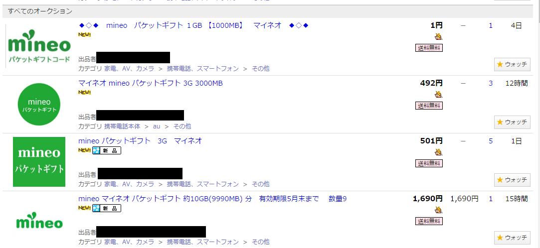 mineoのパケットギフト機能を利用してヤフオクで格安でデータ容量が販売されている