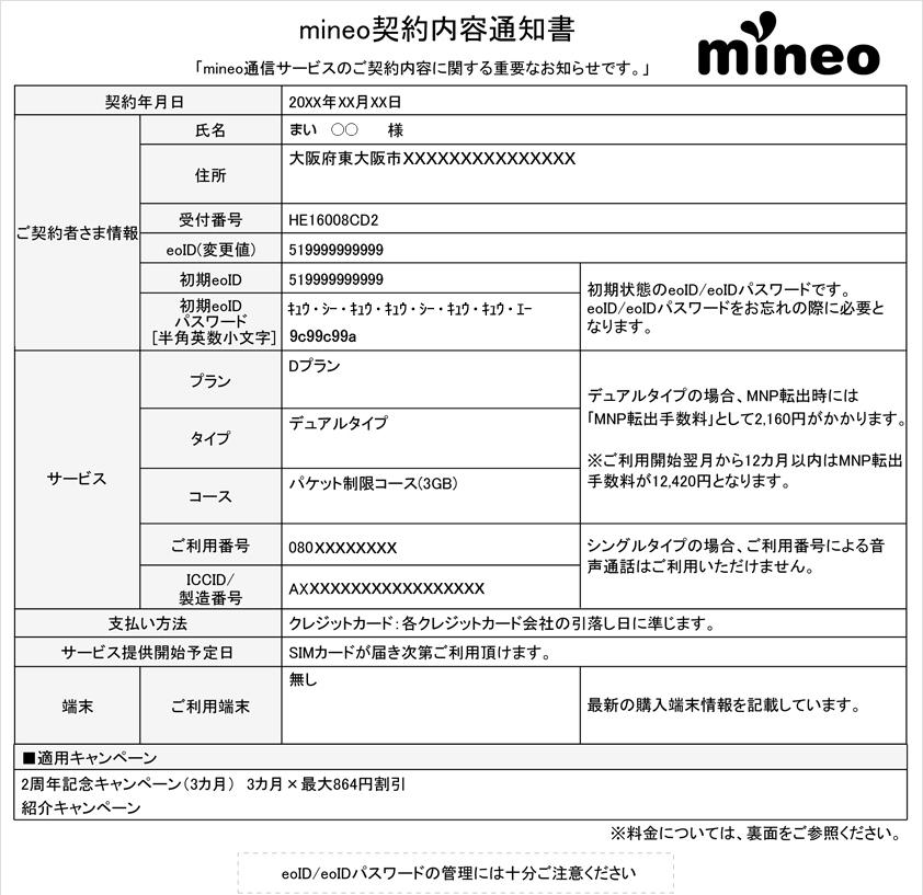 mineo契約内容通知書