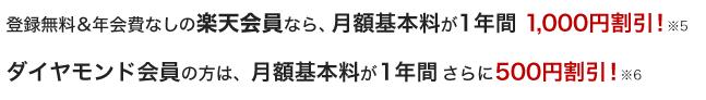 楽天会員なら1年間月額1000円引き&ダイヤモンド会員なら更に500円引きの特典