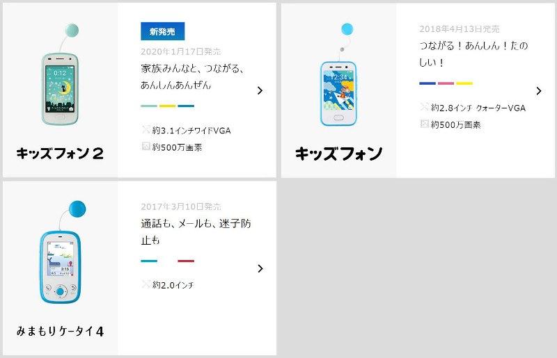 ソフトバンクで2020年時点で販売しているキッズ携帯3機種「みまもりケータイ4」「キッズフォン」「キッズフォン2」