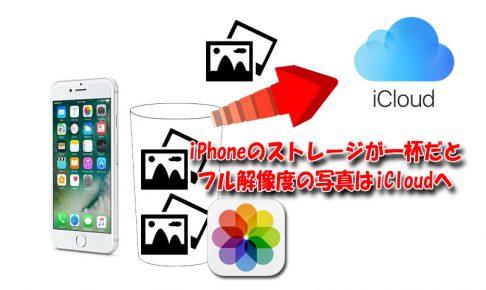 iPhoneのストレージ容量が一杯だと撮った写真のフル解像度はiCloudへ保存される