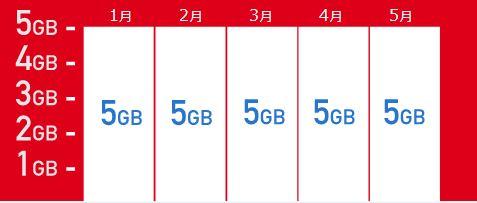 bモバイルSの990ジャストフィットSIM_5GB定額の場合