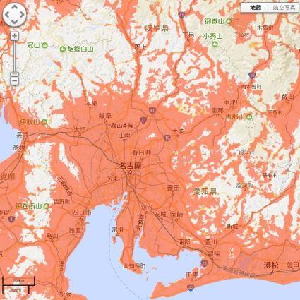 au4GLTEの名古屋周辺の利用可能エリア