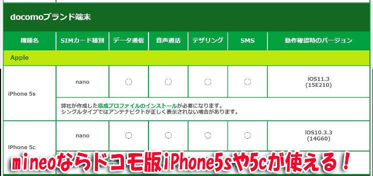 mineoの動作確認端末一覧_ドコモ版iPhone5sや5cが使える