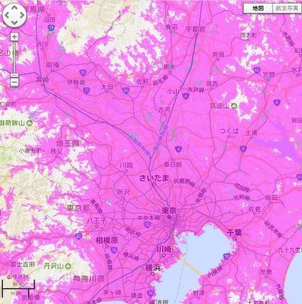 WiMAX2+の関東の利用可能エリア