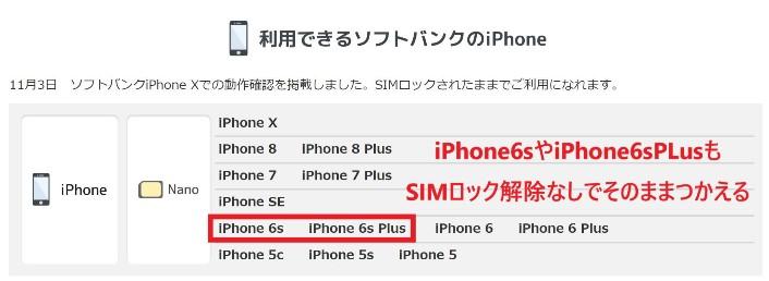 bモバイルSで動作確認されているiPhoneの中にはiPhone6sと6sPlusもある