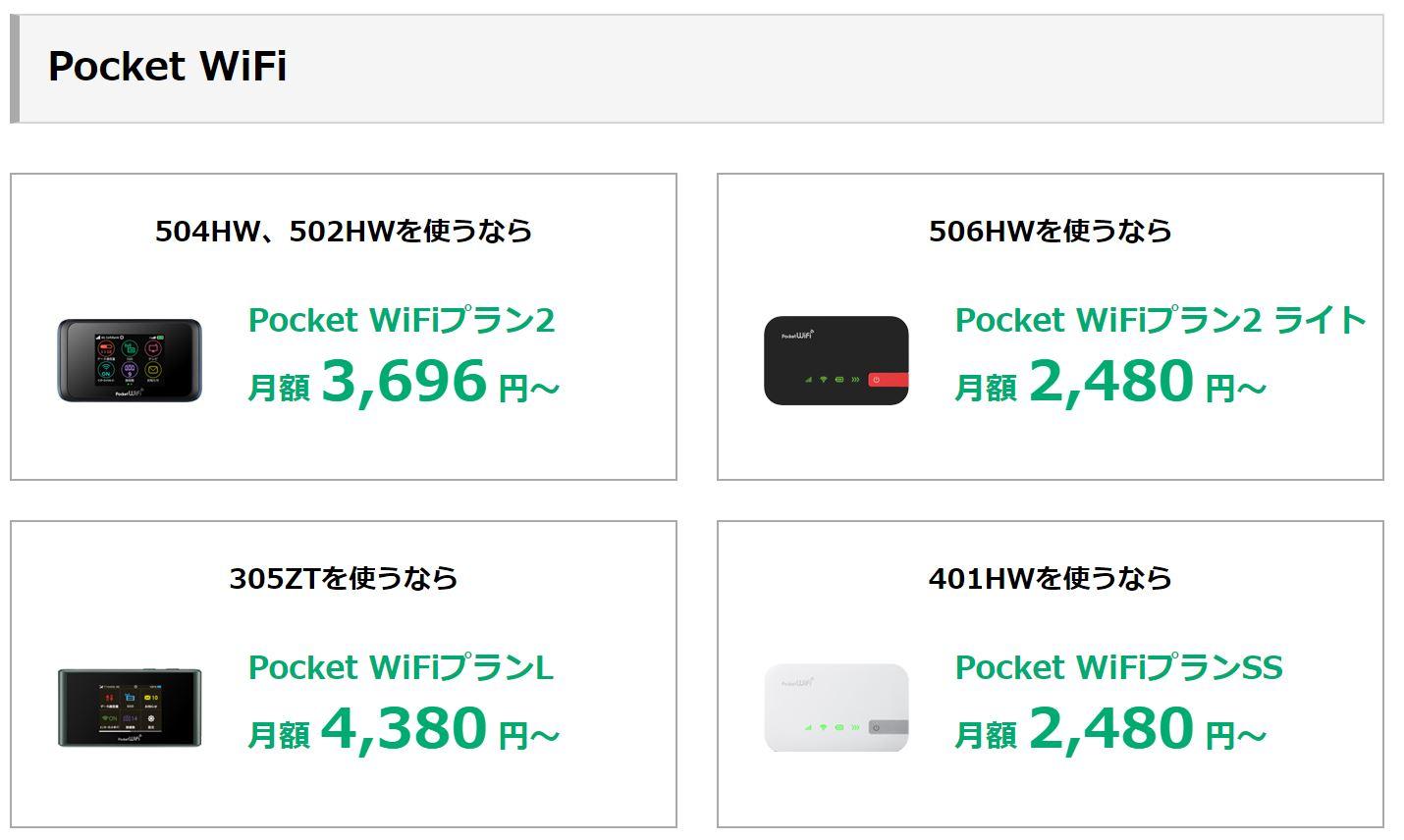 ワイモバイルのポケットwifiシリーズ