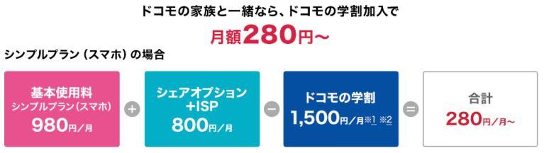 ドコモの学割2018なら月額280円~で利用可能