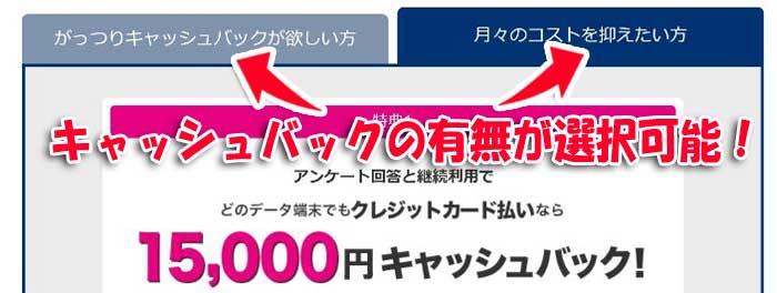BIGLOBEの公式申込ページには「がっつりキャッシュバックが欲しい」か「月々のコストを抑えたい」か選べる!