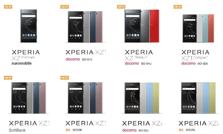 キャリアごとに購入可能なXperiaモデル一覧@Sony
