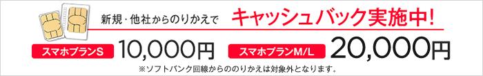 ワイモバイルの最大2万円キャッシュバックキャンペーン_バナー