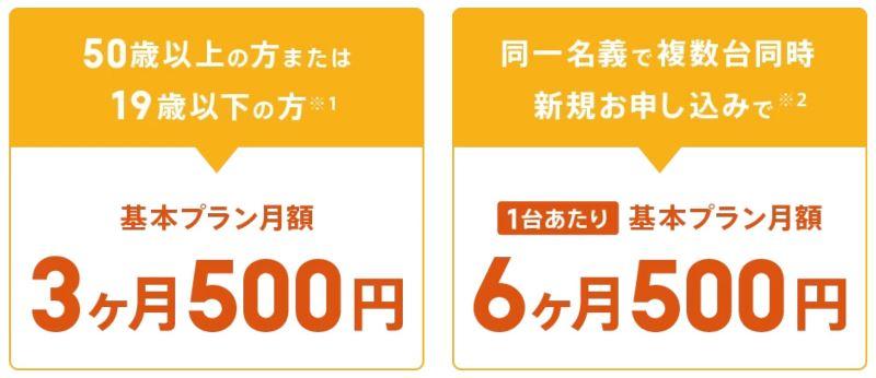2つの特典「基本プラン料金が3ヶ月500円に割引」と「複数台同時申込で1台当たり月額500円×6ヶ月に」