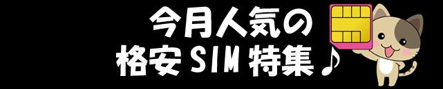 今月人気の格安SIM特集