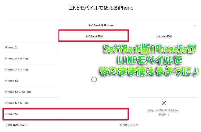 LINEモバイルの公式動作確認端末ページにもソフトバンク版iPhone5sが記載されている