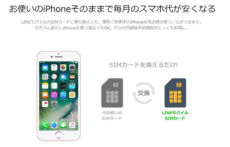 お使いのiPhoneそのままで毎月のスマホ代が安くなる(LINEモバイル)