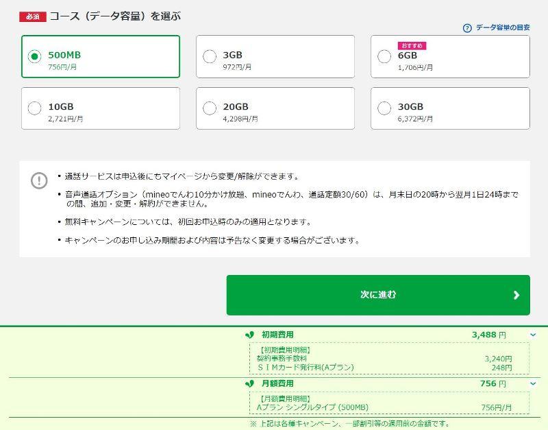 ➁-2:mineo申し込みフォーム入力