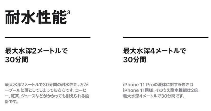 iPhone11とproの違い_耐水性能