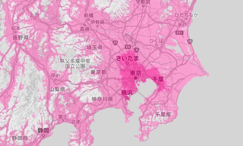 楽天アンリミットの回線エリア(関東圏)は意外と広い