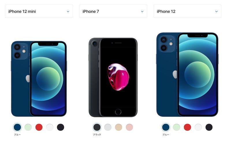 iPhone12Miniなら7や8より本体は小さくても画面は大きい