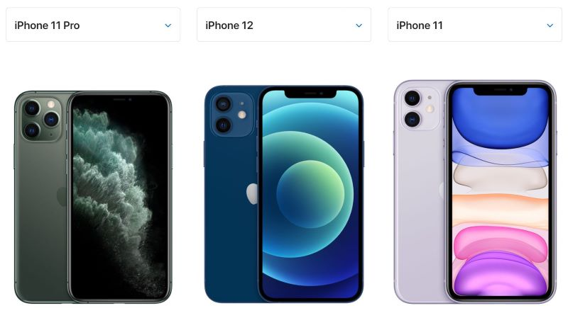 iPhone11Pro < iPhone12(12Pro) < iPhone11の順に本体サイズが大きい