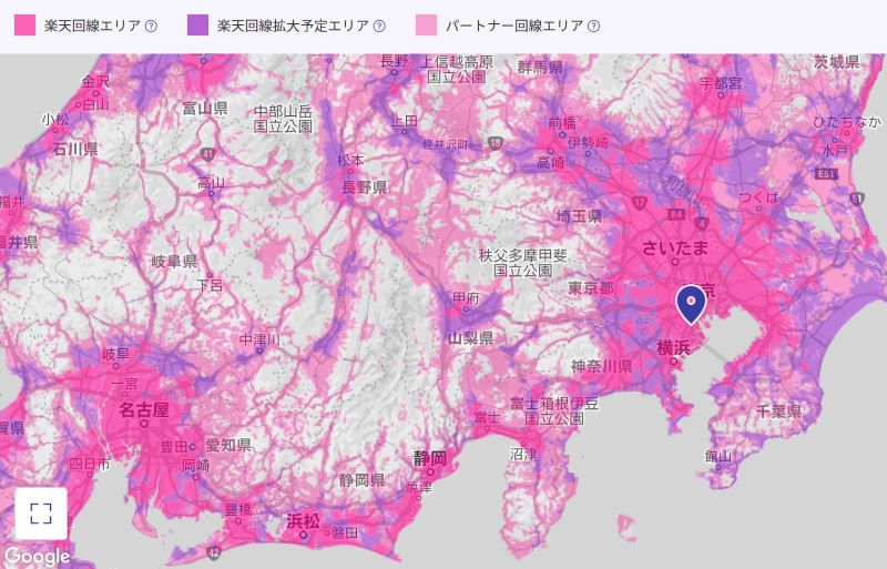 楽天アンリミットの回線エリア(関東圏)は意外と広い(2021.22時点)